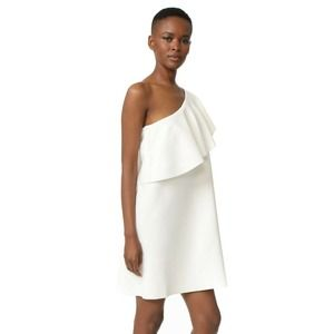 Milly One Shoulder Flounce Knit Dress White